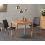 Oxford 80cm Solid Oak Dining Table with Hamburg Faux Leather Chairs