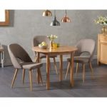 Oxford 90cm Solid Oak Drop Leaf Extending Dining Table with Harrogate Fabric Chairs
