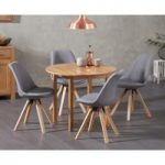 Oxford 90cm Solid Oak Drop Leaf Extending Dining Table with Ophelia Square Leg Fabric Chairs