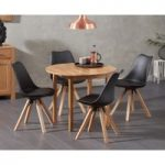 Oxford 90cm Solid Oak Drop Leaf Extending Dining Table with Ophelia Square Leg Faux Leather Chairs