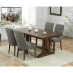 Cavendish 165cm Dark Oak All Sides Extending Table With Pacific Fabric Dark Oak Leg Chairs