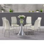 Petra 180cm Oval Glass Dining Table with Calgary Chairs