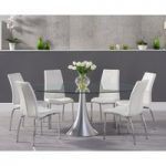Petra 180cm Oval Glass Dining Table with Cavello Chairs