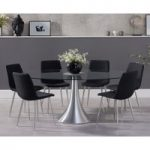 Petra 180cm Oval Glass Dining Table with Hamburg Fabric Chrome Leg Chairs
