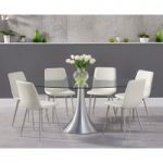 Petra 180cm Oval Glass Dining Table with Hamburg Faux Leather Chrome Leg Chairs