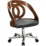 Curve Walnut Desk Chair with Faux Leather Seat