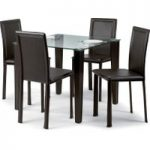 Quattro Faux Leather and Glass Dining Sets with 4 Chairs