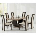 Raphael 170cm Brown Pedestal Marble Dining Table with Raphael Chairs