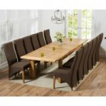Rustique 220cm Solid Oak Extending Dining Table with Henley Fabric Chairs