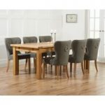 Rustique 220cm Solid Oak Extending Dining Table with Knightsbridge Fabric Chairs