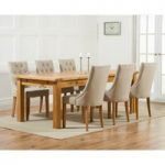 Rustique 220cm Solid Oak Extending Dining Table with Pacific Fabric Chairs