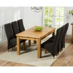 Rustique 180cm Solid Oak Extending Dining Table with Henley Fabric Chairs
