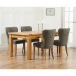 Rustique 180cm Solid Oak Extending Dining Table with Knightsbridge Fabric Chairs