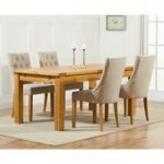 Rustique 150cm Solid Oak Extending Dining Table with Pacific Fabric Chairs