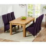 Rustique 150cm Solid Oak Extending Dining Table with Henley Fabric Chairs