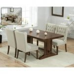 Cavendish 165cm Dark Oak All Sides Extending Table With Safia Fabric Dark Oak Leg Chairs