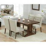 Cavendish 165cm Dark Oak All Sides Extending Table With Safia Fabric Dark Oak Leg Chairs
