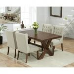 Bordeaux 165cm Dark Oak All Sides Extending Table with Safia Fabric Dark Oak Leg Chairs