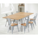 Somerset 90cm Oak and Grey Flip Top Dining Table with Tolix Industrial Style Oak and Grey Dining Chairs