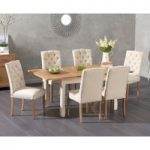 Somerset 130cm Oak and Cream Extending Dining Table with Candice Cream Fabric Chairs