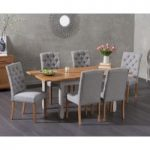 Somerset 130cm Oak and Grey Extending Dining Table with Candice Grey Fabric Chairs