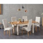 Somerset 130cm Oak and Cream Extending Dining Table with Jasper Cream Fabric Chairs