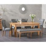 Somerset 180cm Oak Extending Dining Table with Cora Faux Leather Chairs and Cora Faux Leather Bench