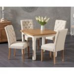 Somerset 90cm Flip Top Oak and Cream Dining Table with Candice Cream Fabric Chairs