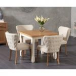 Somerset 90cm Flip Top Oak and Cream Dining Table with Imogen Cream Fabric Chairs
