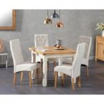 Somerset 90cm Flip Top Oak and Cream Table with Jasper Cream Fabric Chairs