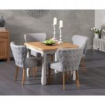 Somerset 90cm Flip Top Oak and Grey Dining Table with Imogen Grey Fabric Chairs