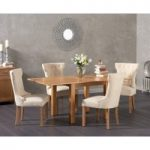 Somerset 90cm Flip Top Oak Dining Table with Cora Fabric Chairs