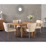 Somerset 90cm Flip Top Oak Dining Table with Imogen Fabric Chairs