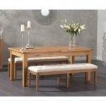 Somerset 180cm Oak Extending Dining Table with Cora Cream Fabric Benches