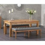 Somerset 180cm Oak Extending Dining Table with Cora Grey Faux Leather Benches