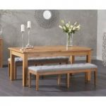 Somerset 180cm Oak Extending Dining Table with Cora Grey Fabric Benches