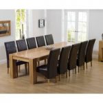 Thames 300cm Oak Dining Table with Brown Cannes Chairs