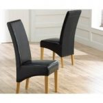 Cannes Black Bonded Leather Dining Chairs (Pair)