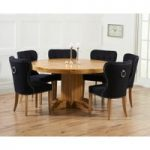 Torino 150cm Solid Oak Round Pedestal Dining Table with Knightsbridge Fabric Chairs