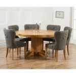 Torino 150cm Solid Oak Round Pedestal Dining Table with Charcoal Grey Knightsbridge Fabric Chairs