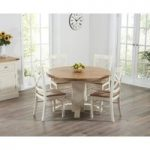 Torino Oak & Cream Extending Pedestal Dining Table with Cavendish Chairs