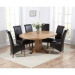 Torino Solid Oak Extending Pedestal Dining Table with Kentucky Chairs