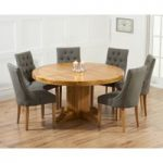 Torino 150cm Solid Oak Round Pedestal Dining Table with Pacific Fabric Chairs