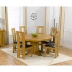 Torino 150cm Solid Oak Round Pedestal Dining Table with Louis Chairs