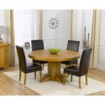 Torino 150cm Solid Oak Round Pedestal Dining Table with Rustique Chairs