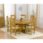 Torino 150cm Solid Oak Round Pedestal Dining Table with Cheshire Chairs