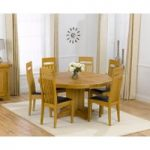 Torino 150cm Solid Oak Round Pedestal Dining Table with Monaco Chairs