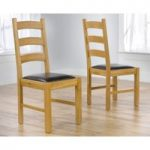 Vermont Solid Oak and Brown Leather Dining Chairs (Pair)