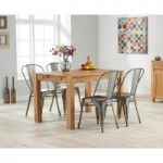 Verona 120cm Solid Oak Dining Table with Tolix Industrial Style Dining Chairs