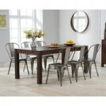 Verona 150cm Dark Solid Oak Extending Dining Table with Tolix Industrial Style Dining Chairs